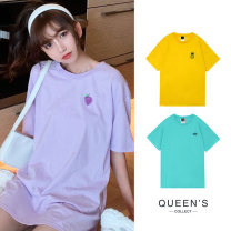 T-shirt Yellow, green, purple, blue, rose powder Average size Summer 2020 Short sleeve Crew neck easy Medium length routine cotton 96% and above originality Other / other