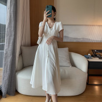 Dress Summer 2021 white S,M,L Mid length dress singleton  Short sleeve commute V-neck High waist Solid color Socket A-line skirt routine Others 25-29 years old Type A No foam Simplicity Button 91% (inclusive) - 95% (inclusive) other polyester fiber