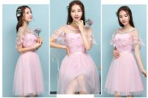 Dress / evening wear Date, routine, party, wedding, company annual meeting, adult ceremony, performance One size, big size Korean version Short skirt middle-waisted Summer 2017 Skirt Princess One shoulder Deep V style Silk gauze 18-25 years old elbow sleeve flower Solid color Other / other