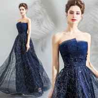 Dress / evening wear Wedding adult party company annual meeting performance XS S M L XL XXL XXXL navy blue fashion longuette middle-waisted Winter of 2018 Fall to the ground Chest type Bandage 18-25 years old 3706+ Sleeveless Nail bead Princess tribe other Polyester 100% Sequins