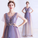 Dress / evening wear Wedding adult party company annual meeting performance S XS M L XL XXL XXXL Blue purple fashion longuette middle-waisted Summer 2020 Self cultivation Deep collar V Bandage 18-25 years old Short sleeve Embroidery Princess tribe Polyethylene terephthalate (polyester) 100%