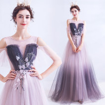 Dress / evening wear Wedding adult party company annual meeting performance S XS M L XL XXL XXXL Light pink fashion longuette middle-waisted Autumn of 2019 Self cultivation One shoulder Bandage 18-25 years old 7208A Short sleeve Embroidery Princess tribe Polyethylene terephthalate (polyester) 100%