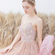 Dress / evening wear Company annual meeting performance S XS M L XL XXL XXXL Pink sexy longuette middle-waisted Spring of 2019 Self cultivation Chest type Bandage 18-25 years old Sleeveless Princess tribe Polyethylene terephthalate (polyester) 100% Pure e-commerce (online only) 96% and above