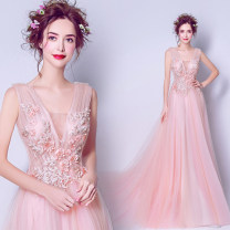 Wedding dress Fall 2017 Pink grace Small tail Bandage Hotel Interior Deep collar V organza  Three dimensional cutting middle-waisted 18-25 years old flower Princess tribe Pure e-commerce (online only) Polyethylene terephthalate (polyester) 100%