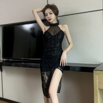 Dress Winter 2020 black S,M,L Mid length dress singleton  middle-waisted Solid color zipper Irregular skirt Lace, irregular 71% (inclusive) - 80% (inclusive) polyester fiber
