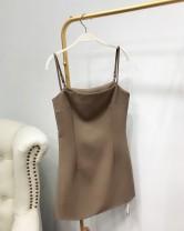Dress Summer 2020 Khaki spot, thin black spot S,M,L Short skirt singleton  Sleeveless commute One word collar High waist zipper other camisole 25-29 years old Type H Korean version 31% (inclusive) - 50% (inclusive)