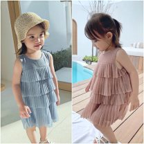 Dress Blue, pink female Maidou story 7 (recommended height 100-105cm), 9 (recommended height 105-110cm), 11 (recommended height 110-115cm), 13 (recommended height 115-120cm), 15 (recommended height 120-130cm) Other 100% summer Korean version Solid color Cotton blended fabric Cake skirt ML56492