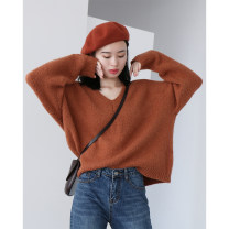 sweater Winter of 2019 Average size Long sleeves Socket singleton  Regular other 31% (inclusive) - 50% (inclusive) V-neck thickening commute other Solid color Regular wool Keep warm and warm