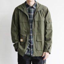 Windbreaker green Others Youth fashion M,L,XL,2XL zipper routine easy Other leisure autumn youth Lapel Japanese Retro F919-LFHF02 Polyester 100% Solid color Digging bags with lids Multiple pockets polyester fiber More than 95%