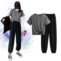 Women's large Summer 2021 Gray, blue M (90-105 kg), l (105-125 kg), XL (125-150 kg), 2XL (150-170 kg), 3XL (170-190 kg) Two piece set commute easy moderate Socket Short sleeve Solid color Crew neck routine Polyester, cotton Three dimensional cutting routine Ninth pants
