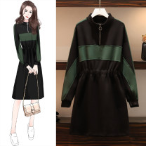 Women's large Autumn 2020 black M suggests 80-100kg, l 100-120kg, XL 120-143kg, 2XL 145-168kg, 3XL 170-200kg Dress singleton  commute easy moderate Socket Long sleeves Solid color stand collar Polyester, cotton, others Three dimensional cutting routine 25-29 years old zipper longuette other zipper