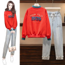 Women's large Winter 2020 Red sweater with velvet, jeans, yellow sweater with velvet M suggests 80-100kg, l 100-120kg, XL 120-143kg, 2XL 145-168kg, 3XL 170-200kg Two piece set commute easy thickening Socket Long sleeves letter Crew neck routine Denim, cotton Three dimensional cutting routine