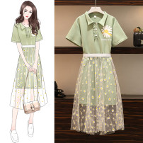 Women's large Summer 2020 green M suggests 80-100kg, l 100-120kg, XL 120-143kg, 2XL 145-168kg, 3XL 170-200kg Dress Two piece set easy thin Socket Short sleeve Plants and flowers Polo collar Polyester, cotton routine Button Medium length other tassels