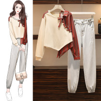 Women's large Autumn 2020 Graph color Two piece set commute easy moderate Socket Long sleeves Solid color other routine Denim, cotton Make old routine pocket trousers bow