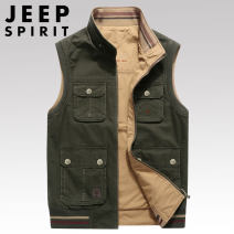 Vest / vest other Jeep / Jeep M,L,XL,2XL,3XL,4XL Black, army green, khaki Other leisure easy Vest routine spring stand collar middle age 2020 American leisure MJ036 Solid color zipper Rib hem cotton Cotton 100% washing Multiple pockets nothing Three dimensional bag More than 95%