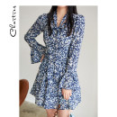 Dress Spring 2021 Blue black XL S M L Short skirt singleton  Long sleeves commute V-neck middle-waisted Broken flowers zipper pagoda sleeve 25-29 years old Chartres Korean version C21AD901 More than 95% polyester fiber Polyester 100%