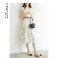 Dress Spring 2021 White - advance payment 7 days S M L longuette singleton  Nine point sleeve commute V-neck Loose waist Dot zipper A-line skirt routine Others 25-29 years old Type A Chartres Korean version Splicing C21AD910 More than 95% other Other 100%