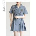Dress Summer 2021 Grey black S M L XL Short skirt singleton  Short sleeve commute tailored collar High waist Solid color double-breasted A-line skirt routine 25-29 years old Chartres Korean version C21BD917 More than 95% polyester fiber Polyester 100%