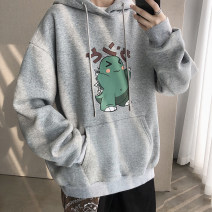 Sweater Youth fashion Zijun Gray, dark gray, black, white, yellow, mint, > Click to view size < (select color before) M,L,XL,2XL Cartoon animation Socket routine Hood spring easy leisure time teenagers tide Off shoulder sleeve printing No iron treatment Kangaroo pocket