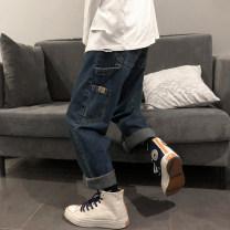 Jeans Youth fashion Zijun M,L,XL,2XL Light blue, dark blue routine Micro bomb Regular denim trousers Other leisure winter teenagers Medium low back Loose straight tube tide 2020 Straight foot zipper