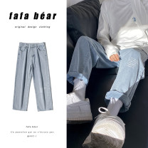 Jeans Youth fashion Zijun M,L,XL,2XL Black, light blue, dark blue, > Click to view the size < (select the color in front) routine No bullet Regular denim trousers Other leisure summer teenagers Medium low back Loose straight tube tide 2020 Straight foot zipper Three dimensional tailoring washing