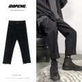Jeans Youth fashion Zijun M,L,XL,2XL Black, blue, > Click to view size < (select color in front) routine Micro bomb Regular denim Capris Other leisure autumn teenagers Medium low back Loose straight tube like a breath of fresh air 2020 Straight foot zipper
