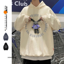 Sweater Youth fashion Zijun Apricot, black, blue, > Click to view size < (select color in front) M,L,XL letter Socket routine Hood easy leisure time teenagers tide routine cotton printing No iron treatment Save pocket