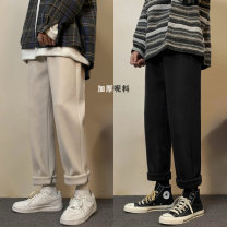 Casual pants Others Youth fashion Black, gray, off white XL,2XL,3XL,M,L Plush and thicken trousers Other leisure easy Micro bomb winter teenagers like a breath of fresh air 2020 Straight cylinder Haren pants Pocket decoration Solid color Wool polyester fiber polyester fiber Domestic non famous brands