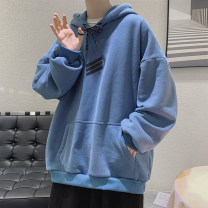 Sweater Youth fashion Zijun Blue, gray, black, white, > Click to view size < (select color in front) M,L,XL,2XL Solid color Socket routine Hood autumn easy leisure time teenagers tide routine Fleece  cotton printing No iron treatment Kangaroo pocket Japanese and Korean style