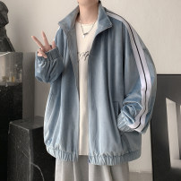 Jacket Zijun Youth fashion Black, blue, > Click to view size < (select color in front) M,L,XL routine easy Other leisure spring Long sleeves Wear out Lapel like a breath of fresh air teenagers routine Zipper placket 2021 Cloth hem other