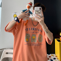 T-shirt Youth fashion Black, white, blue, orange, > Click to view size < (select color in front) routine M,L,XL,2XL Zijun Long sleeves Crew neck easy Other leisure summer teenagers routine tide 2021 Geometric pattern printing Cartoon animation
