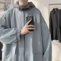 Jacket Zijun Youth fashion Light blue, black, > Click to view size < (select color in front) M,L,XL routine easy Other leisure spring Long sleeves Wear out Hood like a breath of fresh air teenagers routine Zipper placket 2021 Cloth hem