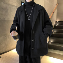 woolen coat Black, apricot, bluish gray, > Click to view size < (select color in front) M,L,XL,2XL Zijun Youth fashion routine Other leisure easy youth tailored collar Single breasted tide Solid color Cloth hem autumn Bag digging with open cut thread wool No iron treatment Arrest line