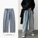 Jeans Youth fashion Zijun S,M,L,XL,2XL Blue, black, > Click to view size < (select color in front) routine trousers Other leisure spring teenagers Medium low back Loose straight tube tide 2020 Straight foot