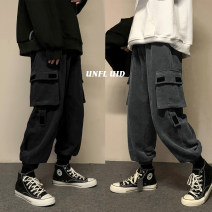 Casual pants Zijun Youth fashion Khaki, dark gray, black, purple, > Click to view size < (select color before) M,L,XL,2XL routine trousers Other leisure easy Micro bomb Four seasons youth tide 2020 middle-waisted Little feet Overalls Pocket decoration washing Solid color other cotton