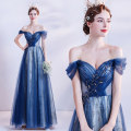 Dress / evening wear Wedding adult party company annual meeting performance XS S M L XL XXL XXXL blue Korean version longuette middle-waisted Winter 2020 Self cultivation One shoulder Bandage 18-25 years old Short sleeve Embroidery Solid color Bridal Beauty Polyethylene terephthalate (polyester) 100%