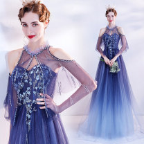 Dress / evening wear Wedding adult party company annual meeting performance XS S M L XL XXL XXXL blue Korean version longuette middle-waisted Spring 2021 Self cultivation Chest type Bandage 18-25 years old Short sleeve Nail bead Solid color Bridal Beauty routine Pure e-commerce (online only)