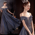 Dress / evening wear Wedding adult party company annual meeting performance XS S M L XL XXL XXXL navy blue fashion longuette middle-waisted Winter 2020 Fall to the ground One shoulder Bandage 18-25 years old Sleeveless Nail bead Solid color Bridal Beauty routine Pure e-commerce (online only) Sequins