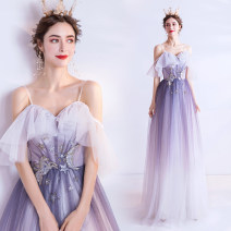 Dress / evening wear Wedding adult party company annual meeting performance XS S M L XL XXL XXXL violet grace longuette middle-waisted Winter of 2019 Fall to the ground Sling type Bandage 18-25 years old 1162A Short sleeve Embroidery Bridal Beauty Polyethylene terephthalate (polyester) 100%