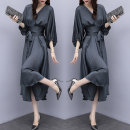 Dress Spring 2021 grey Mid length dress singleton  three quarter sleeve commute V-neck High waist Solid color Socket Big swing bishop sleeve Others Type X Retro Lace up, asymmetrical