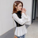 Lace / Chiffon Winter of 2019 Dark grey, black, caramel S,M,L,XL Long sleeves commute Socket Fake two pieces Self cultivation Super short Crew neck Solid color bishop sleeve fold Korean version 81% (inclusive) - 90% (inclusive)