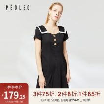 Dress Summer 2020 black 36/S/160,38/M/165,40/L/170 Mid length dress singleton  Short sleeve V-neck middle-waisted Solid color Socket A-line skirt routine 25-29 years old Type A Peoleo / piaoyei Button DQ6T12231 91% (inclusive) - 95% (inclusive) polyester fiber