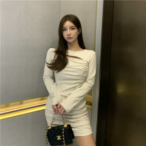 Dress Winter 2020 Apricot, black Average size Short skirt singleton  Long sleeves Crew neck High waist One pace skirt routine 18-24 years old Type H 9223# 31% (inclusive) - 50% (inclusive) cotton