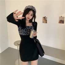 Dress Spring 2021 Black dress Average size Short skirt singleton  Long sleeves commute square neck High waist Solid color Socket One pace skirt routine 18-24 years old Splicing 51% (inclusive) - 70% (inclusive) other