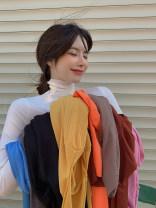 T-shirt Khaki, orange, gray, white, blue, yellow, black, pink, brick red, coffee Average size Winter 2020 Long sleeves High collar Regular routine commute cotton 30% and below 18-24 years old Korean version other