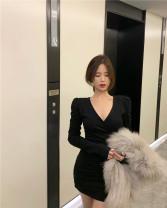 Dress Winter 2020 Gray, black Average size Short skirt singleton  Long sleeves commute High waist 18-24 years old Korean version 99502#