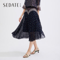 skirt Summer 2020 S M L XL XXL Colorful flowers Mid length dress commute Natural waist Pleated skirt Broken flowers Type A 25-29 years old More than 95% Sedate polyester fiber 3D printing of used yarn mesh splicing lady Polyester fiber 99% metal coated fiber 1%
