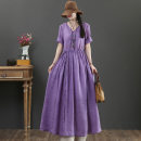Dress Summer 2021 Purple, blue, rose pink M,L,XL longuette singleton  Short sleeve commute Crew neck Loose waist Solid color Socket Big swing routine 40-49 years old Type X literature Button, pocket, lace up More than 95% hemp