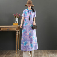 Dress Summer 2021 violet M,L,XL Mid length dress singleton  Short sleeve commute stand collar Loose waist Decor Socket A-line skirt routine 40-49 years old Type A literature Nail beads, printing More than 95% hemp
