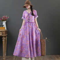 Dress Summer 2021 violet M,L,XL longuette singleton  Short sleeve commute Crew neck Loose waist Decor Socket Big swing routine Others 40-49 years old Type X literature Print, lace up 9226-1 More than 95% hemp